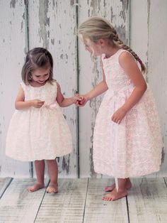 This Blush and White Flower Girls Dress is So Pretty. Satin Floral Embroidered Flower Girl Dress