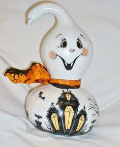 Vampire Ghost Gourd with Haunted House  Hand by FromGramsHouse, $42.00