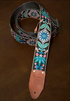 Pink/Turquoise Floral Vintage-styled Guitar Strap. $40.00, via Etsy.