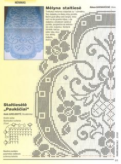 Oval blue centerpiece with a good diagram, click to enlarge, filet work