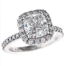 Solid 14k white gold 5.00 carat cushion cut halo by GOLDGANESH