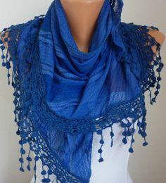 Cobalt Blue Lace Scarf