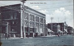 The east side of Gaetz Ave, looking South from the intersection with Ross St. None of the building in this photo are still standing. 1910 Red Deer, AB