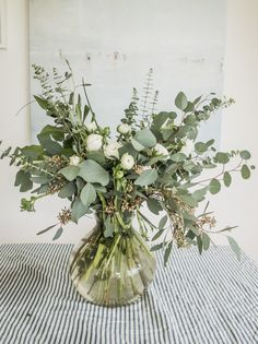 Tips for creating a Eucalyptus and Ranunculus Floral Bouquet on Emily Alder Eucalyptus Centerpiece, Greenery Centerpiece, Wedding Centerpieces, Wedding Table, Wedding Decorations, Table Decorations, Ranunculus Centerpiece, Centerpiece Ideas, White Flower Centerpieces