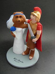 Custom made to order Bear and Gladiator college mascot wedding cake toppers. $235 www.magicmud.com 1 800 231 9814 magicmud@magicmud... blog.magicmud.com twitter.com/... $235 #mascot #collegemascot #hokie #ms.wuf #gators #virginiatech #football mascot #wedding #toppers #bear #gladiators #custom #Groom #bride #weddingcaketoppers #caketoppers www.facebook.com/... www.tumblr.com/... instagram.com/... magicmud.com/Wedding photos.htm