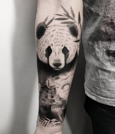 What does panda tattoo mean? We have panda tattoo ideas, designs, symbolism and we explain the meaning behind the tattoo. Panda Tattoos, Tatto Panda, Animal Tattoos, Cool Tattoos For Guys, Cute Tattoos, Body Art Tattoos, Tattoo Designs For Girls, Tattoo Designs Men, Traditional Mermaid Tattoos