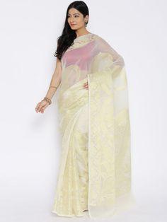 Bunkar Cream-Coloured Organza Silk Banarasi Saree
