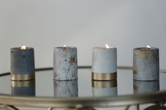 Handmade concrete candles with all natural soy wax by stoneandflamedecor Concrete Candle Holders, Diy Candle Holders, Homemade Candles, Diy Candles, Candle Pics, Concrete Plant Pots, Beton Diy, Concrete Crafts, Candlemaking