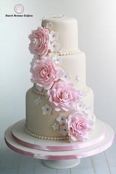 Romantic Vintage Ivory Pink Flowers Wedding Cake Wedding Cakes Photos & Pictures - WeddingWire.com