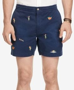 Polo Ralph Lauren Multi Big Pony Flat Front Chino Prep Shorts Royal Blue
