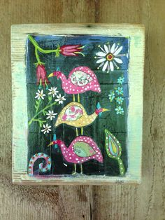 Guninea Fowl Modern Folk on Reclaimed Wood by evesjulia12, $52.00