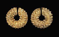 Etruscan Gold Leech Earring Pair, 3rd century B.C.