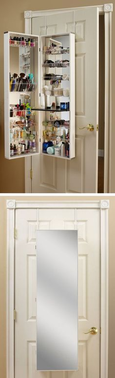 Over-the-door makeup + beauty storage cabinet // clever space saving solution! #organization @Katie Hrubec Hrubec Hrubec Breeding