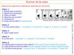 Me encanta escribir en español : Mafalda : primer dia de clase ( preguntas) Spanish Class, Teaching Spanish, Back To School, Language, Classroom, The Unit, Writing, Humor, Learning