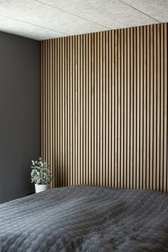 create an elegant slat wall or slat ceiling Wood Slat Wall, Wood Slats, Wooden Walls, Bedroom Wall, Bedroom Decor, Wall Design, House Design, Acoustic Panels, Cheap Home Decor