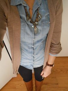 Riding Boots, Leggings, Denim, sweater. Simple fall look.