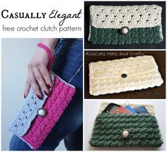 Casually Elegant free crochet clutch pattern by AllieCats Hats and Crafts