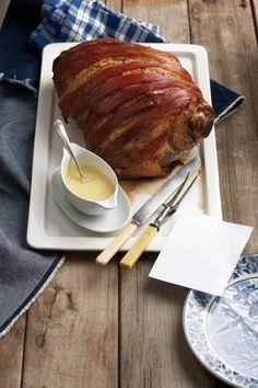 Leg of pork with mustard sauce Braai Recipes, Top Recipes, Dinner Recipes, Healthy Recipes, Recipies, Yummy Recipes, Pork Leg, South African Recipes, English Food