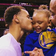 Two superstars (Riley Curry and Steph Curry) share a moment after the Warriors' #NBAFinals Game 4 victory.