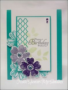Pretty spring card using all Stampin' Up! stamps (Flower Shop and Summer Silhouettes stamp sets)