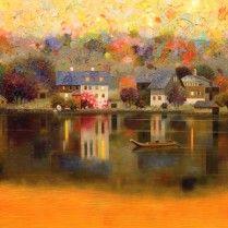 Pedro Roldán - Al alba.luces de otoño.Lago Halstatt.Austria.75x60cm.