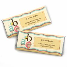 A is for Alphabet Wrapper - Personalized Candy Bar Wrapper Baby Shower Favors $0.99
