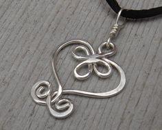 Celtic Heart Sterling Silver Wire Pendant by nicholasandfelice, $14.50