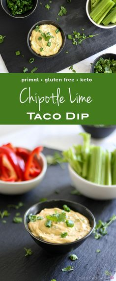 Click to get the full recipe for this dairy free, protein packed, healthy taco dip!