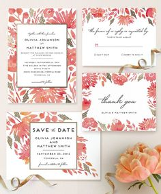 Love this watercolor floral wedding stationery || Watercolor wedding invitations ||