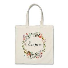 Personalised Floral Tote Bag