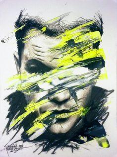 "Obsession / Collection ""Apparences"" / 24 x 32 cm / Modèle : #mattdamon / #portrait #art #sketch #fredml #ink #dark #flash #ink #acrilyque #fluo #trash #yellow #green #black #grey"