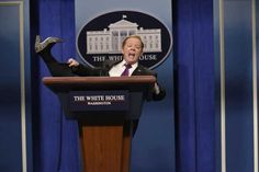"Need A Moving Lectern? (haiku) ""We look for people - who have strong performing arts - and sculpting backgrounds"" Saturday Night Live's now-viral clip of Sean Spicer (played by the comedian Melissa McCarthy) ends with a shot of the angry White House press secretary plowing a motorized lectern into a crowd of reporters.  The star of that bit, the moving lectern, was built by a Montgomery County duo calling themselves the Monkey Boys."