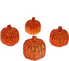 Set of 4 Illuminated Mercury Glass Harvest Accents by Valerie