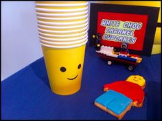 yellow cups w/ Lego face