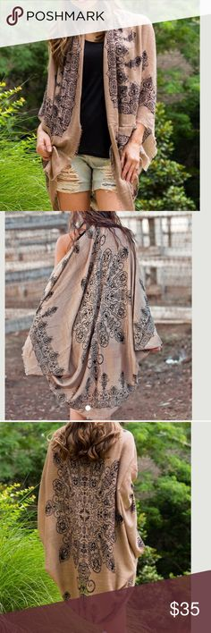 Mocha Henna Print Kimono Cardigan Beautiful light weight kimono style shawl cardigan . One size fits all due to style . Great with dresses , skirts overall great closet essential . Nwot . Also available in blue and black . Vivacouture Accessories Scarves & Wraps