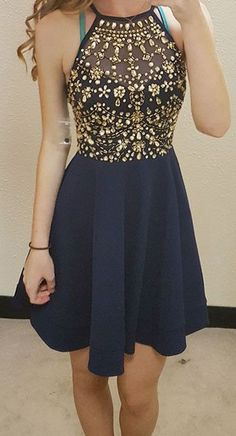 Luxury Crystals Dark Navy Homecoming Dresses_2017 Hoco Dresses