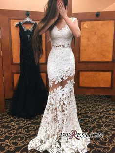 Gorgeous Cap Sleeve Lace Sheer Skirt Mermaid Evening Dress_High Quality Wedding Dresses, Prom Dresses, Evening Dresses, Bridesmaid Dresses, Homecoming Dress - 27DRESS.COM