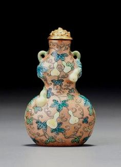 A 'famille-rose' porcelain moulded and enamelled 'double-gourd' snuff bottle.  1736 – 1760
