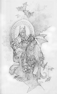 BATMAN-HELLBOY sketchbook piece Comic Art