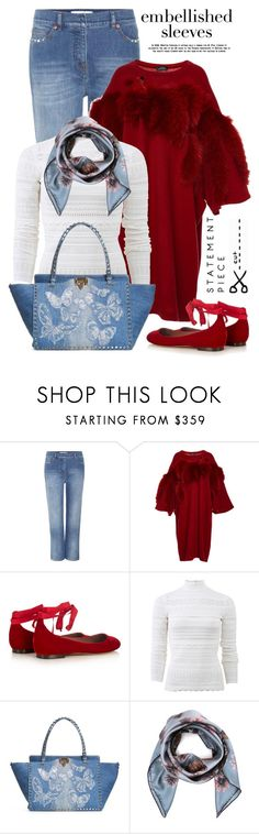 """""""Making a statement: embellished sleeves"""" by jan31 ❤ liked on Polyvore featuring Valentino, Alena Akhmadullina, Tabitha Simmons, Alexander McQueen, denim, scarves, statementpiece and embellishedsleeves"""