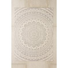 Plum & Bow Sahara Medallion Printed Rug ($24) ❤ liked on Polyvore featuring home, rugs, grey, grey rugs, cotton area rugs, gray area rug, gray rug and grey area rug