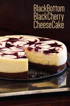 This crave worthy chocolate cherry cheesecake has a decadent base of chocolate ganache and a kiss of cherry swirled into the creamy sweet cheese filling. Dessert Crepes, Chocolate Wafer Cookies, Chocolate Cherry, Chocolate Ganache, Savoury Cake, Clean Eating Snacks, Just Desserts, The Best, Cupcake Cakes