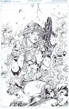 Harley Quinn for Justice League art by Jim Lee - DC Comics - Visit to grab an amazing super hero shirt now on sale! Comic Book Artists, Comic Artist, Comic Books Art, Adult Coloring Book Pages, Colouring Pages, Coloring Books, Character Drawing, Character Design, Art Sketches