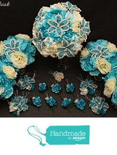Turquoise and Ivory Beaded Lily Bridal Wedding Flower 18 piece set with Peonies and Roses~ Unique French beaded flowers. Includes Bouquets Corsages and Boutonnieres from Glorious Beads