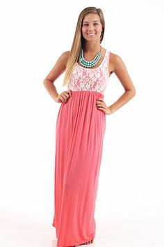 Carried Away Maxi Dress, coral... I'm pretty much in love.