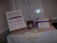 Purple Seating Plan, Wedding Card Post Box and Balloon Display by Garfield's Balloons Weddings Tamworth, via Flickr