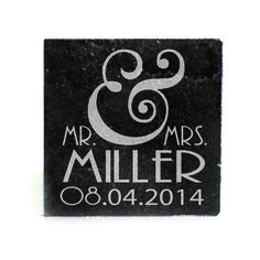 Black Granite Coasters (set of 4) - Mr. & Mrs. Personalized with date