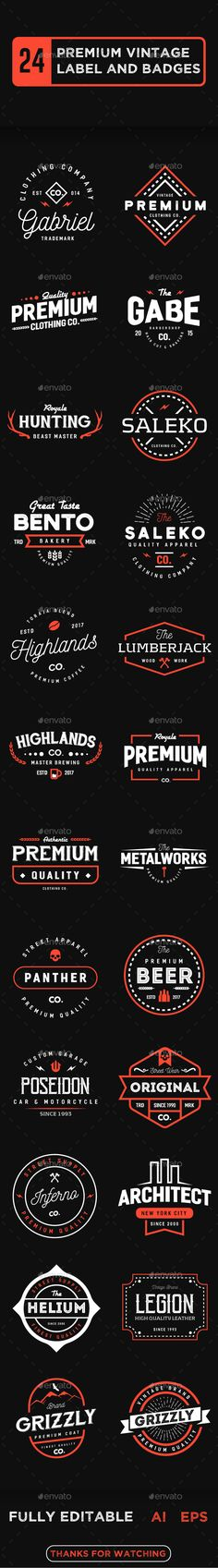 24 Premium Vintage Label and Badges Templates Vector EPS, AI Illustrator