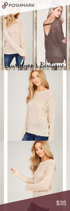 Beautiful Knit crochet pullover sweater Knit crochet round neck pullover sweater. Raglan style sleeves. Open back with lace. Available in taupe and mocha Laurielynn's Boutique Sweaters