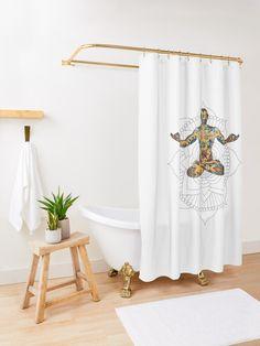 'Peace in mind, yoga style' Shower Curtain by Michalala Yoga Fashion, Tub, Mindfulness, Peace, Curtains, Shower, Bathroom, Design, Home Decor